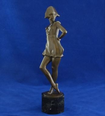 Art deco bronze figure of a pierrette