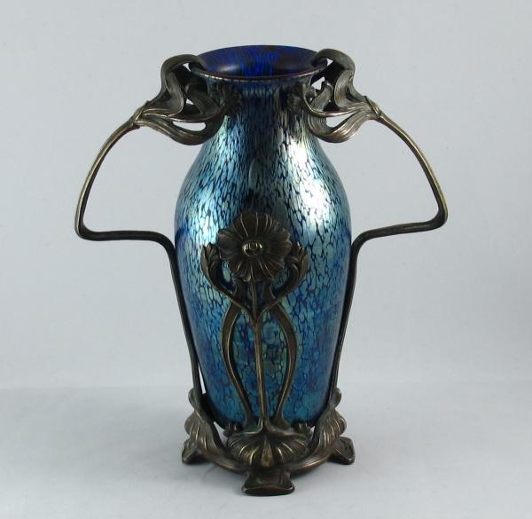 Art Nouveau Loetz Papillon Vase In Metal Mount Solo Antiques
