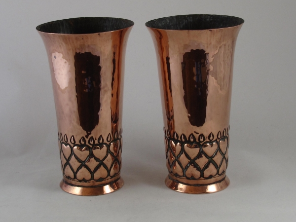 A Pair Of English Arts And Crafts Copper Vases Solo Antiques