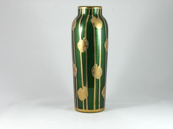 Art Nouveau aventurine glass vase by Harrach