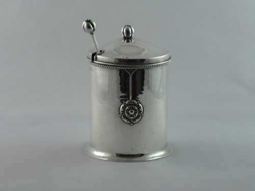 Arts and Crafts silver preserve pot and spoon